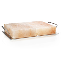 BBQ Pro by Rivsalt - 2 Himalayan Salt Blocks and Metal Tray for Barbecue
