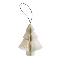 White Paper Tree Ornament with Silver Glitter Edge