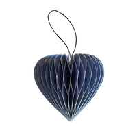 Marine Blue Paper Heart Ornament with Silver Glitter Edges