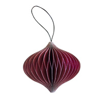 Classic Red Paper Onion Ornament with Silver Glitter Edges