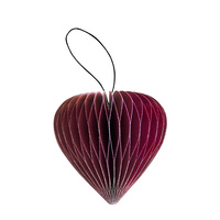 Classic Red Paper Heart Ornament with Silver Glitter Edges