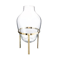 Adorn Glass Vase w.Shiny Brass Stand